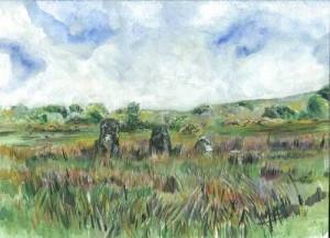 "Stone Alignment, Montiagh 26x19cm 10.25""x7.5""  Print £25 Original Painting £125"