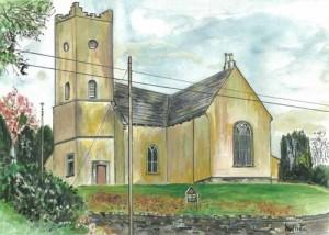 "Tubrid Church 37.5x26.5cm 14.75""x10.5""  Print £35 Original Painting £175"
