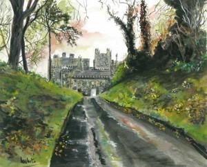 """West Wing, Crom Castle, Autumn 36.5x29.5cm 14.25""""x11.75""""  Print £40 Original Painting £200"""