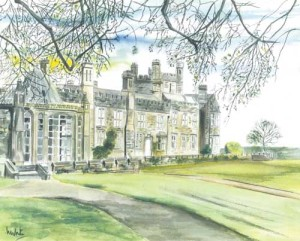 """West Wing, Crom Castle, Spring 36x29cm 14.25""""x11.5"""" Canvas Print £40 Original Painting Sold"""
