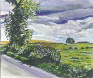 """Pink Hawthorn on the Road to Dromore 22x18cm 8.5""""x7"""" Print £25 Original Painting £150"""