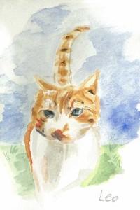 """Cat 10x14.5cm 4""""x5.75"""" Print £15 Original Painting Sold"""