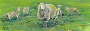 "Sheep Scene 33x12cm 13""x4.75"" Print £20 Original Painting £85"