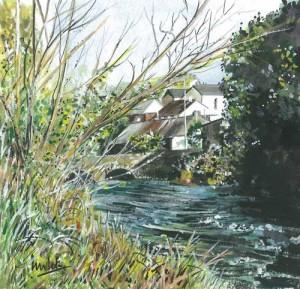 "Pettigo River Scene 3 19x19cm 7.5""x7.5"" Print £20 Original Painting £100"