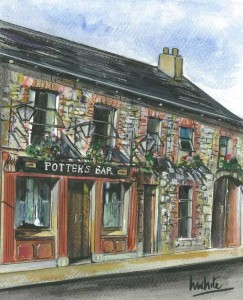 "Potter's Bar, Pettigo 18x23cm 7""x9"" Print £25 Original Painting £125"