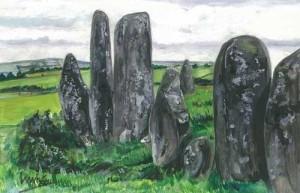"Stone Circle, Raphoe 18x12cm 7""x4.5"" Print £15 Original Painting £75"