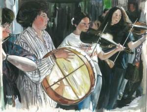 "Musicians, Grafton Street 1 38x29cm 15""x11.5"" Print £50 Original Painting £250"