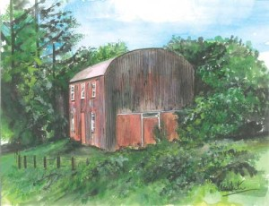 "Red Barn 26.5x20.5cm 10.5""x8""  Print £25 Original Painting Sold"