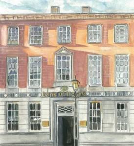 "Bank Of Ireland, Enniskillen 24.5x33cm 10""x13""  Print £35 Original Painting £150"