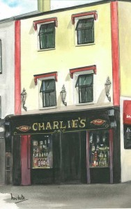 "Charlie's Bar, Enniskillen 20x31cm 8""x12.25"" Print £30 Original Painting £150"
