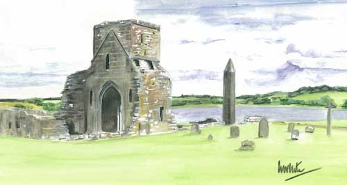 "Devenish Island 33x18cm 13""x7""  Print £30 Original Painting £150"