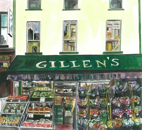 "Gillen's, Enniskillen 26.5x24cm 10.25""x9.5""  Print £30 Original Painting £150"
