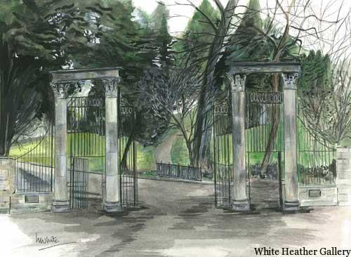 """Portora Gates, Enniskillen 32x27cm 12.5""""x10.5"""" Print £30 Original Painting £150"""