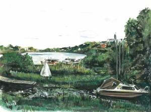 "Rossorry Quay, Enniskillen 2 35x26cm 13.75""x10.25""  Print £35 Original Painting £175"