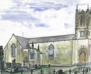 "Derryvullan North, Parish Church 27x30cm 14.5""x11.75""  Print £35 Original Painting £175"