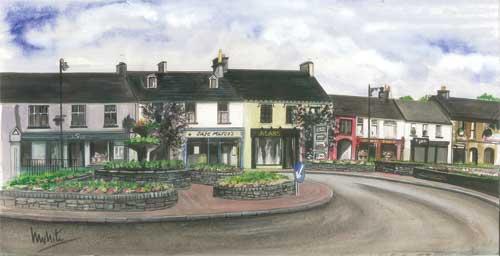 "Main Street Irvinestown 52x24cm 18.5""x9.5""  Print £55 Original Painting £275"