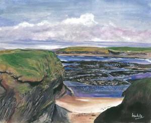 """Rocks at Bundoran 30x24cm 11.75""""x9.5"""" Print £30 Original Painting £150"""
