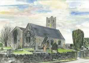 "Ardess Church 36.5x25.7cm 14.5""x10""  Print £35 Original Painting £175"