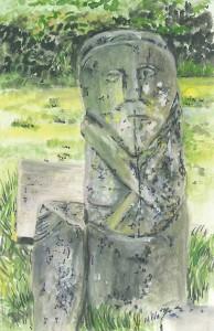 "Boa Island Figure 12x18cm 4.75""x7""  Print £15 Original Painting Sold"