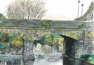 "Kesh Bridge 2 23x15cm 9""x6""  Print £25 Original Painting £110"