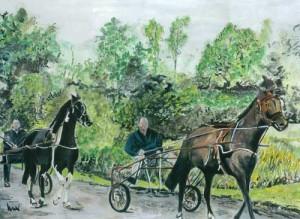 "Pony Drive 36x26cm 14.25""x10.25""  Print £40 Original Painting Sold"